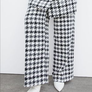 Zara STRAIGHT CHECKED Houndstooth FLARED TROUSERS